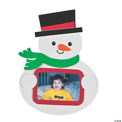 Snowman Holding Picture Frame Magnet Craft Kit