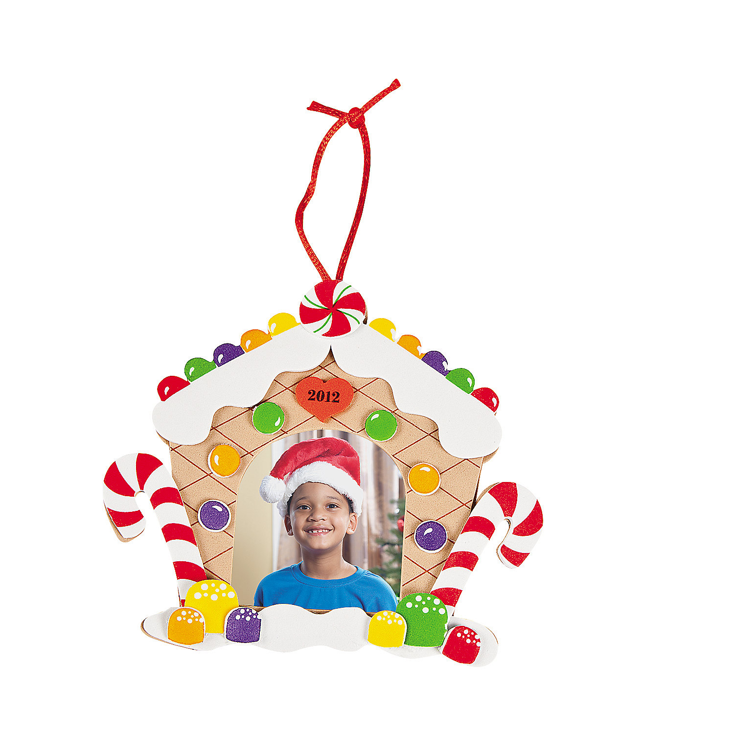 2012 gingerbread house picture frame ornament craft kit for Photo frame ornament craft
