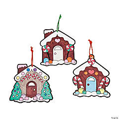 Color Your Own Gingerbread House Ornaments