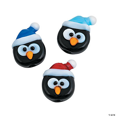 Penguin Head Lampwork Beads - 1/2""
