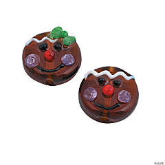 Gingerbread Head Lampwork Beads - 15mm