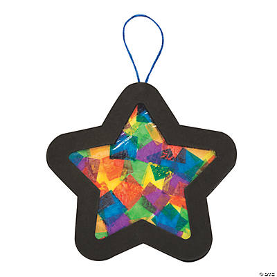Tissue paper star christmas ornament craft kit oriental for Craft kits for preschoolers