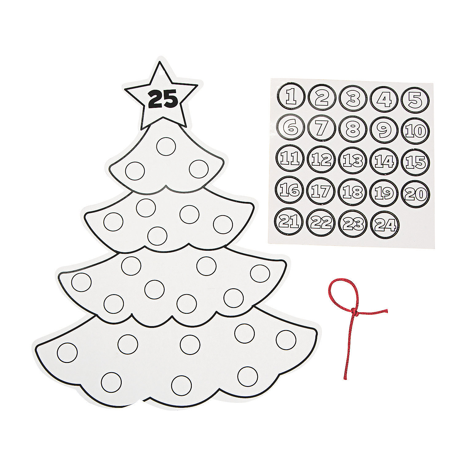 Color Your Own Advent Christmas Tree Calendars Oriental