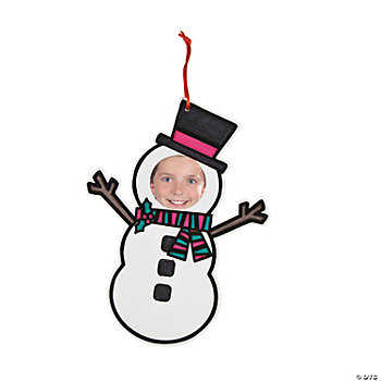 Color Your Own Fuzzy Photo Frame Snowman Ornaments