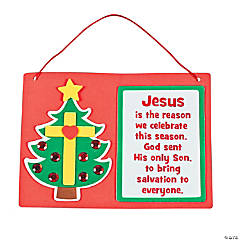 Inspirational Christmas Tree Cross Sign Craft Kit
