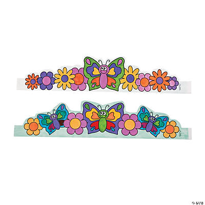 Color Your Own Butterfly & Flowers Crowns