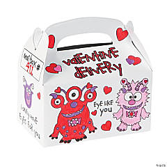 Color Your Own Valentine Monster Mailboxes