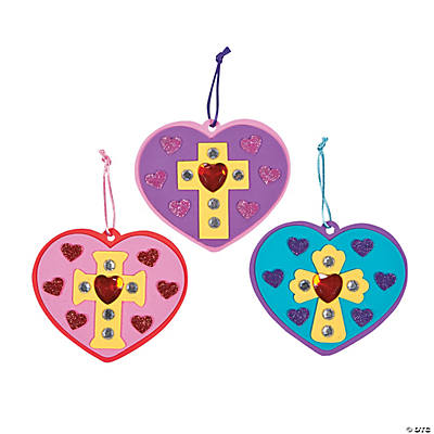 Inspirational jeweled heart ornament craft kit oriental for Inspirational valentine crafts