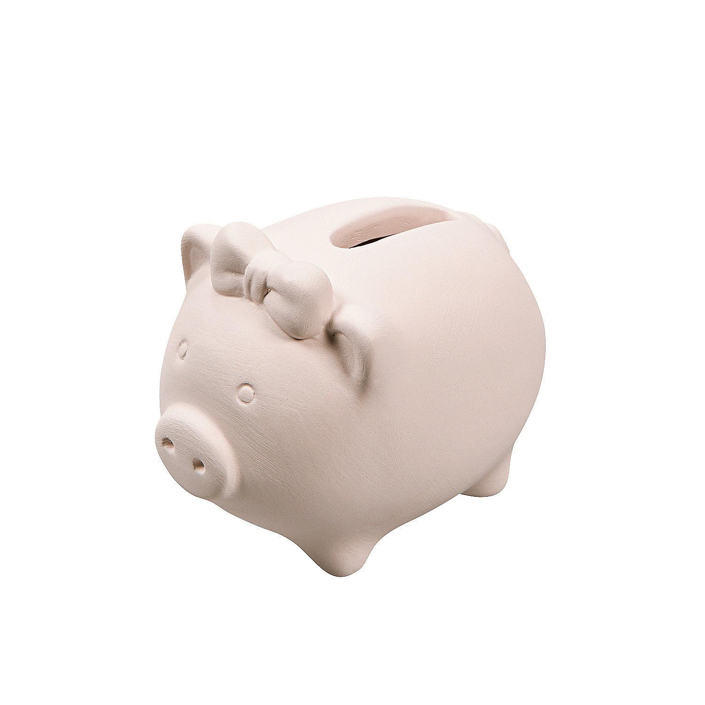 Diy ceramic mini piggy banks oriental trading for Diy piggy bank
