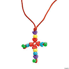 Heart-Shaped Beads Cross Necklace Craft Kit