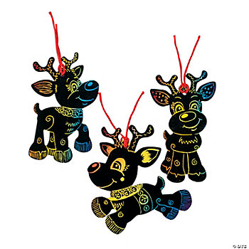 Magic Color Scratch Reindeer Ornaments