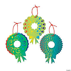 Magic Color Scratch Christmas Wreath Ornaments
