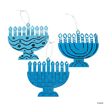 Magic Scratch Foil Menorah Ornaments