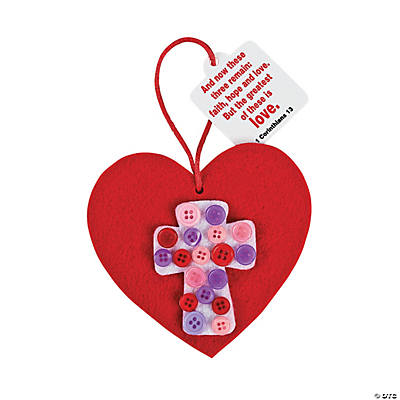 Heart with Button Cross Ornament Valentine Craft Kit