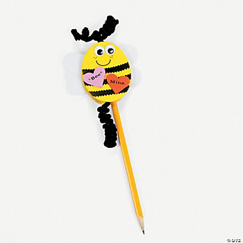 """Bee"" My Valentine Pencil Topper Craft Kit"