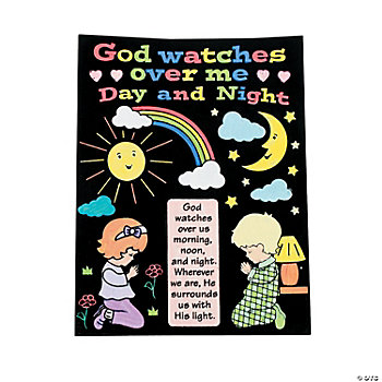 "Color Your Own ""God Watches Over Me"" Fuzzy Posters"