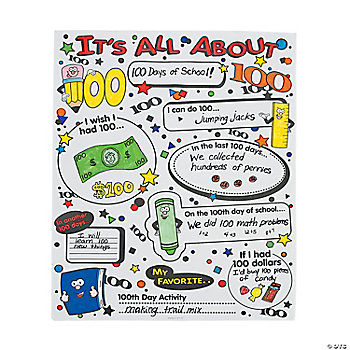 "Color Your Own ""It's All About 100th Day Of School"" Poster Set"
