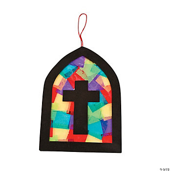 Tissue Paper Cross Stained Glass Window Craft Kit