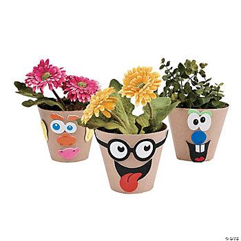 Paper mache silly face flowerpot craft kit