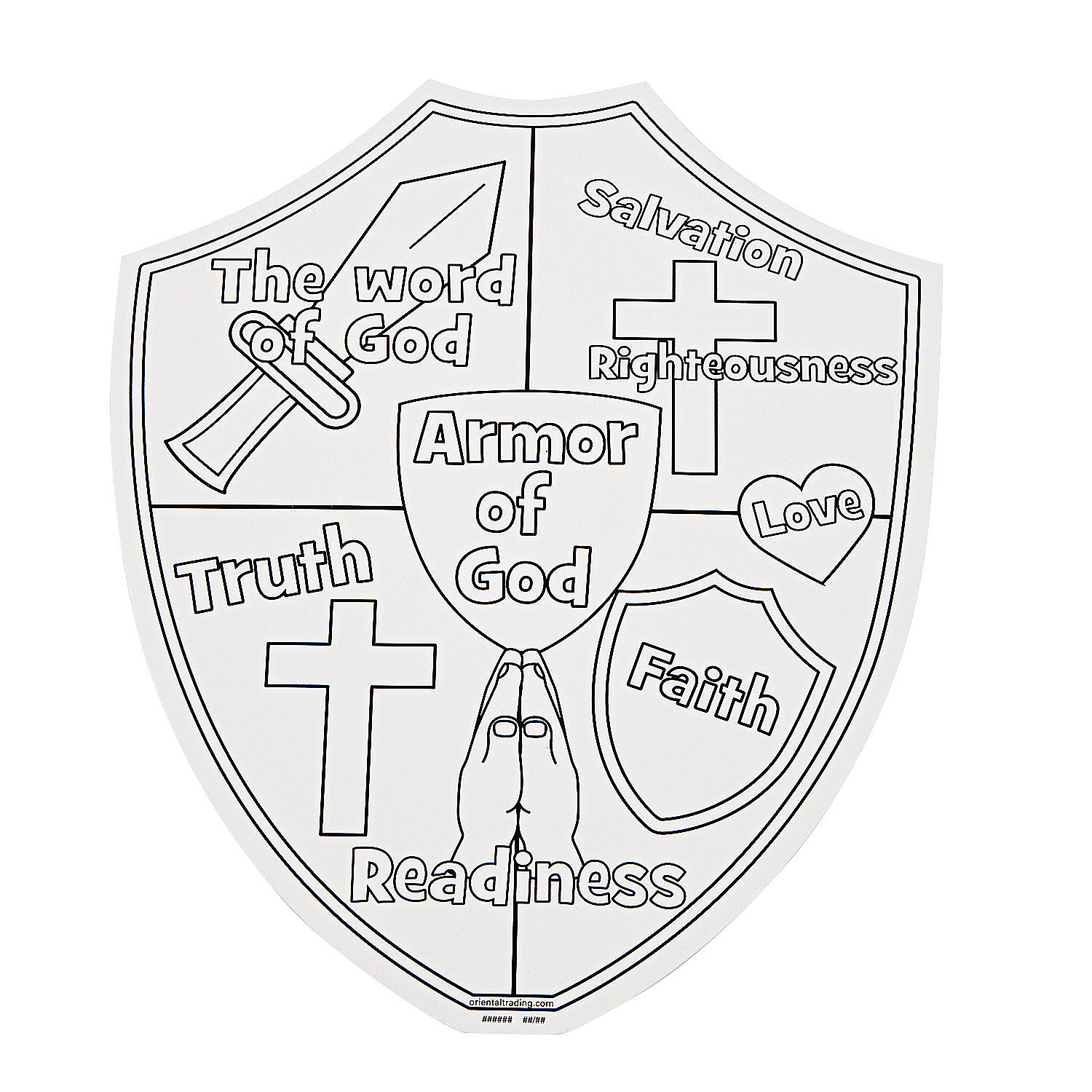 Color Your Own Armor Of God Cutouts Oriental Trading Shield Of Faith Coloring Page