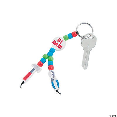 "Beaded ""#1 Dad"" Tool Key Chain Craft Kit"