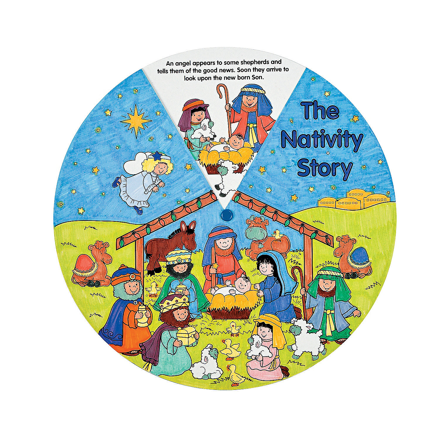 Color your own nativity wheels oriental trading for Christian sunday school crafts