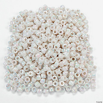 1000 Pc. AB Finish White Pony Beads - 1/4""