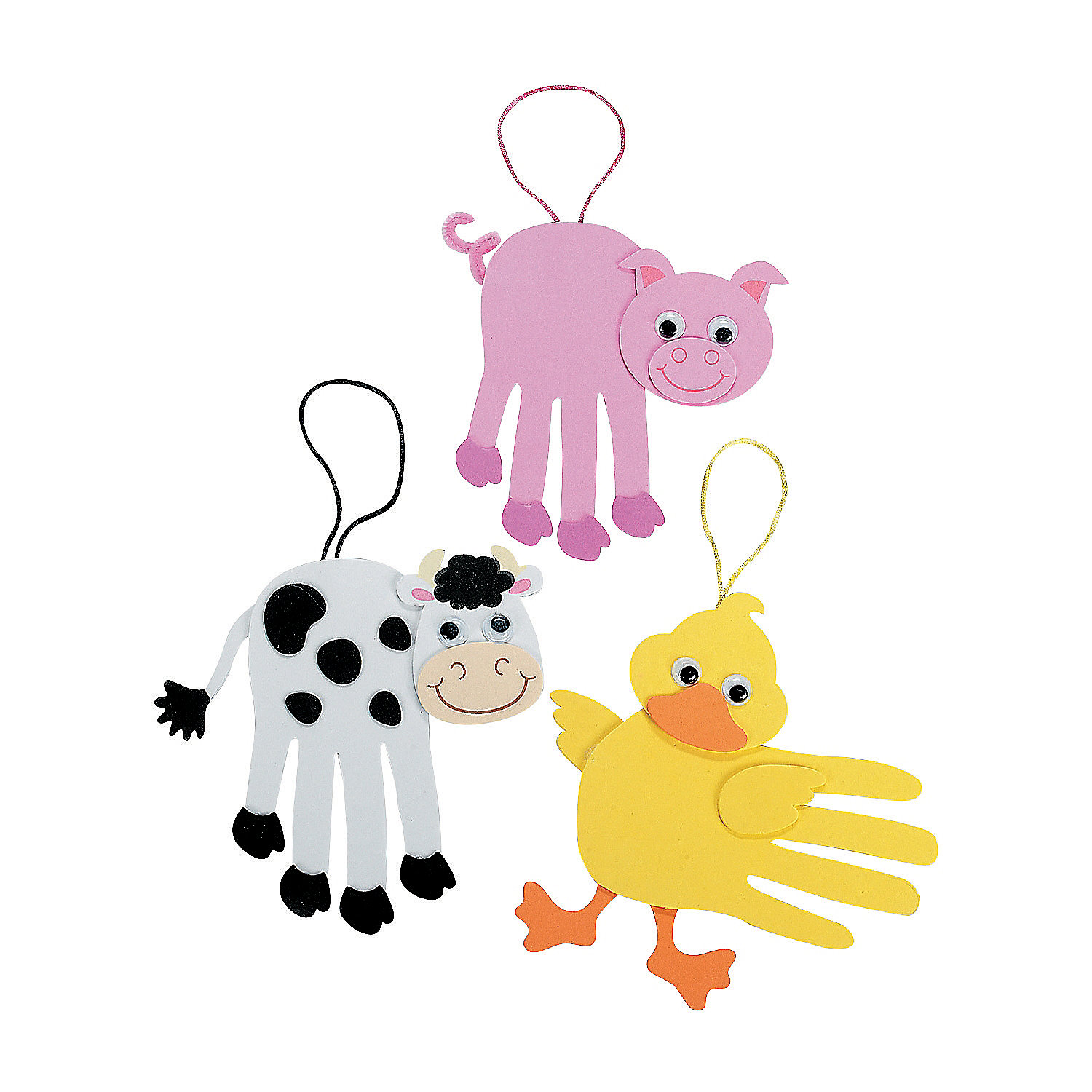 Farm animal handprint craft kit oriental trading for Crafts with hands