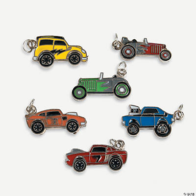 Race Car Enamel Charms