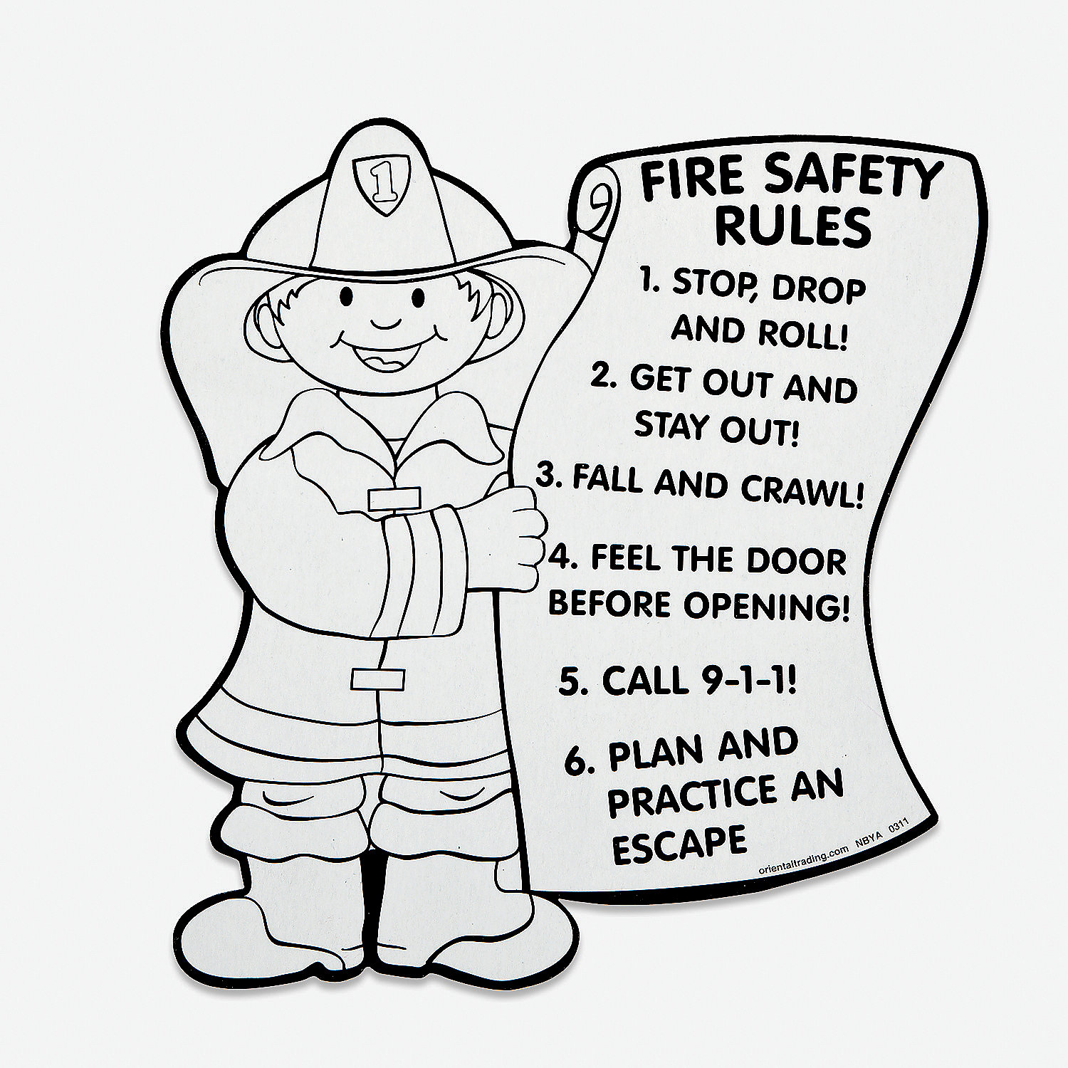 Color your own fire safety rules oriental trading for Free printable fire prevention coloring pages