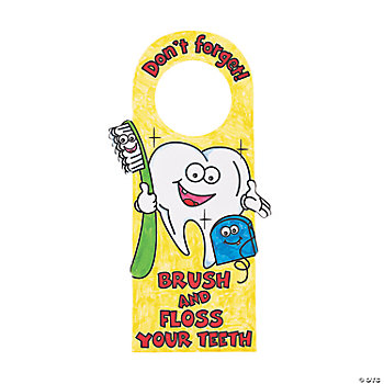 "Color Your Own ""Brush & Floss Your Teeth"" Door Hangers"