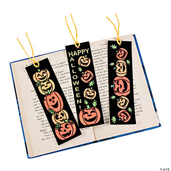 Color Your Own Fuzzy Jack-O'-Lantern Bookmarks