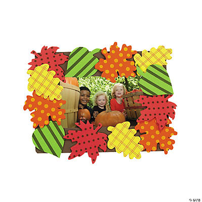 Patterned Fall Leaves Picture Frame Magnet Craft Kit - Makes 50