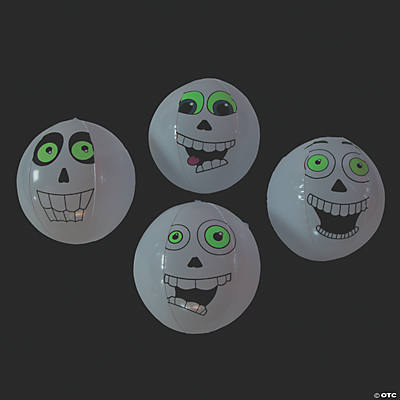Inflatable Glow-in-the-Dark Skull Beach Balls