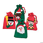 Appliquéd Holiday Drawstring Treat Bags