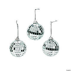 Silver Mirror Ball Christmas Ornaments
