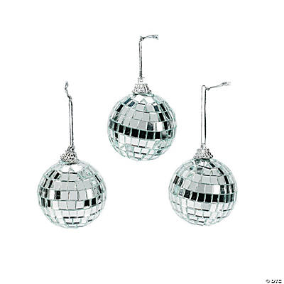 Silver Disco Ball Christmas Ornaments