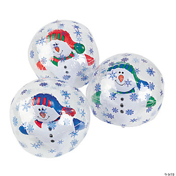 Inflatable Snowman In Snowflake Beach Balls