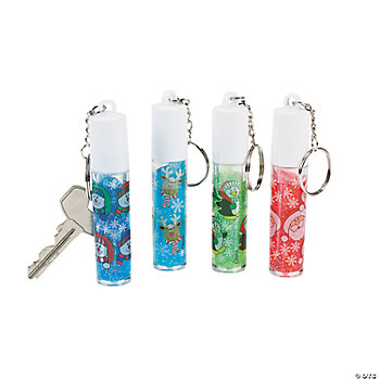 Holiday Glitter Lip Gloss Key Chains