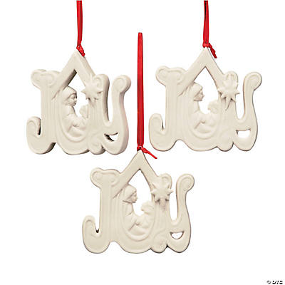 "Jade Porcelain ""Joy"" Nativity Christmas Ornaments"