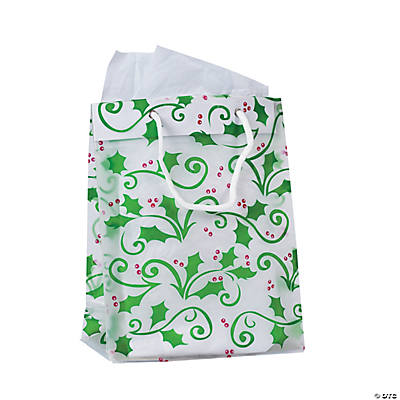 Medium Gift Bags with Holly Leaves