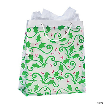 Large Gift Bags With Holly Leaves