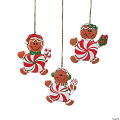 Peppermint Candy Gingerbread Man Christmas Ornaments