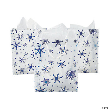 Large Clear Gift Bags With Snowflakes