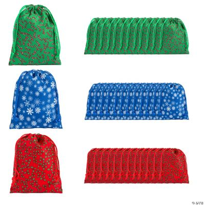 Holiday Print Drawstring Bags