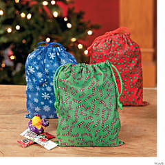 Holiday Print Drawstring Bags
