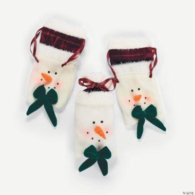 Plush Snowman Head Drawstring Bags