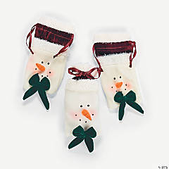 Plush Snowman Head Drawstring Bags