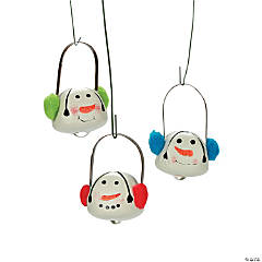 Jingle Bell Snowman Ornaments with Ear Muffs