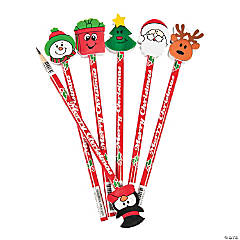 Christmas Pencils with Eraser Toppers